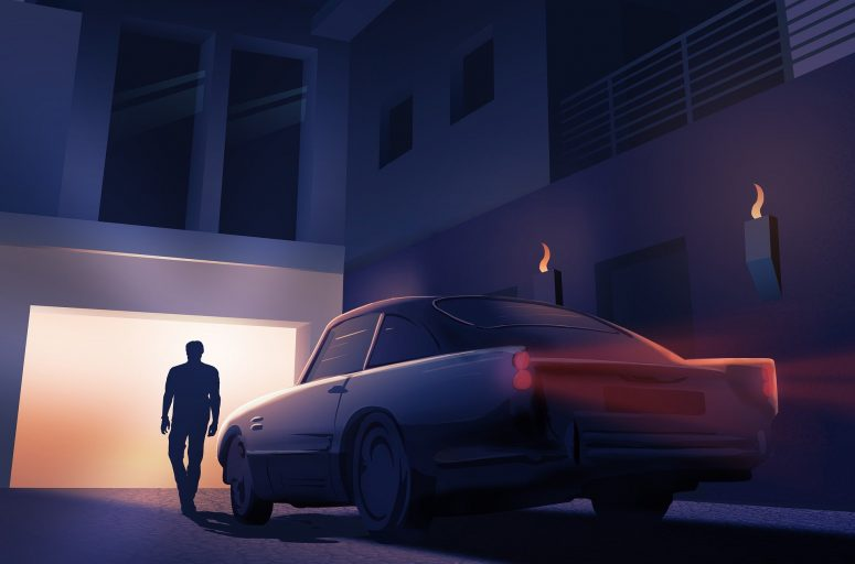 Man Car Parking Night Home Aston Martin Villa